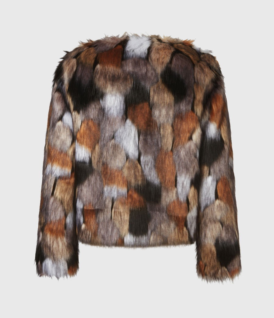 Women's Fifi Faux Fur Patch Jacket (beige_gold) - Image 3