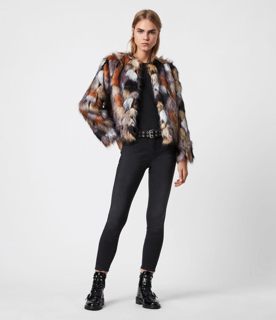 Women's Fifi Faux Fur Patch Jacket (beige_gold) - Image 4