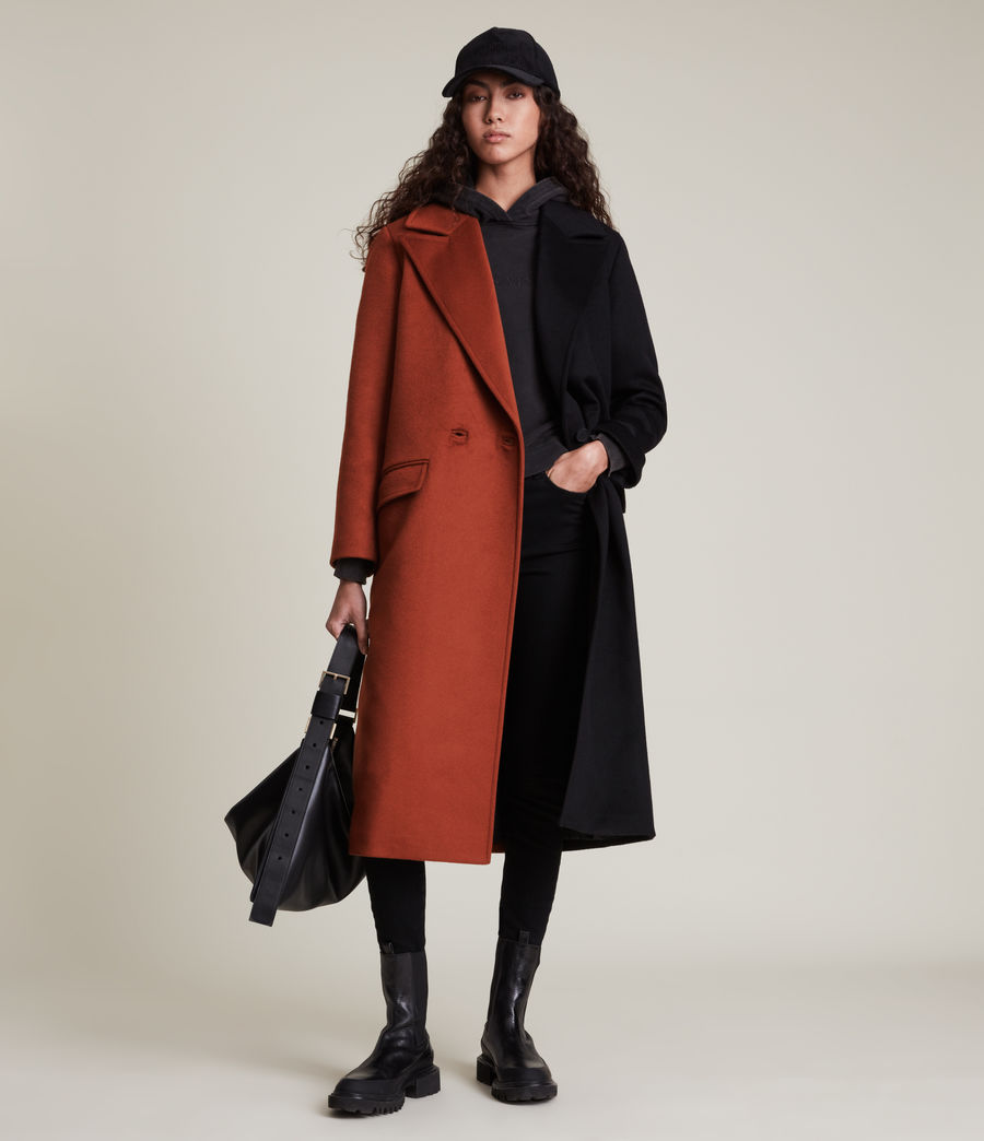 Women's Mabel Wool Blend Coat (brown_black) - Image 1