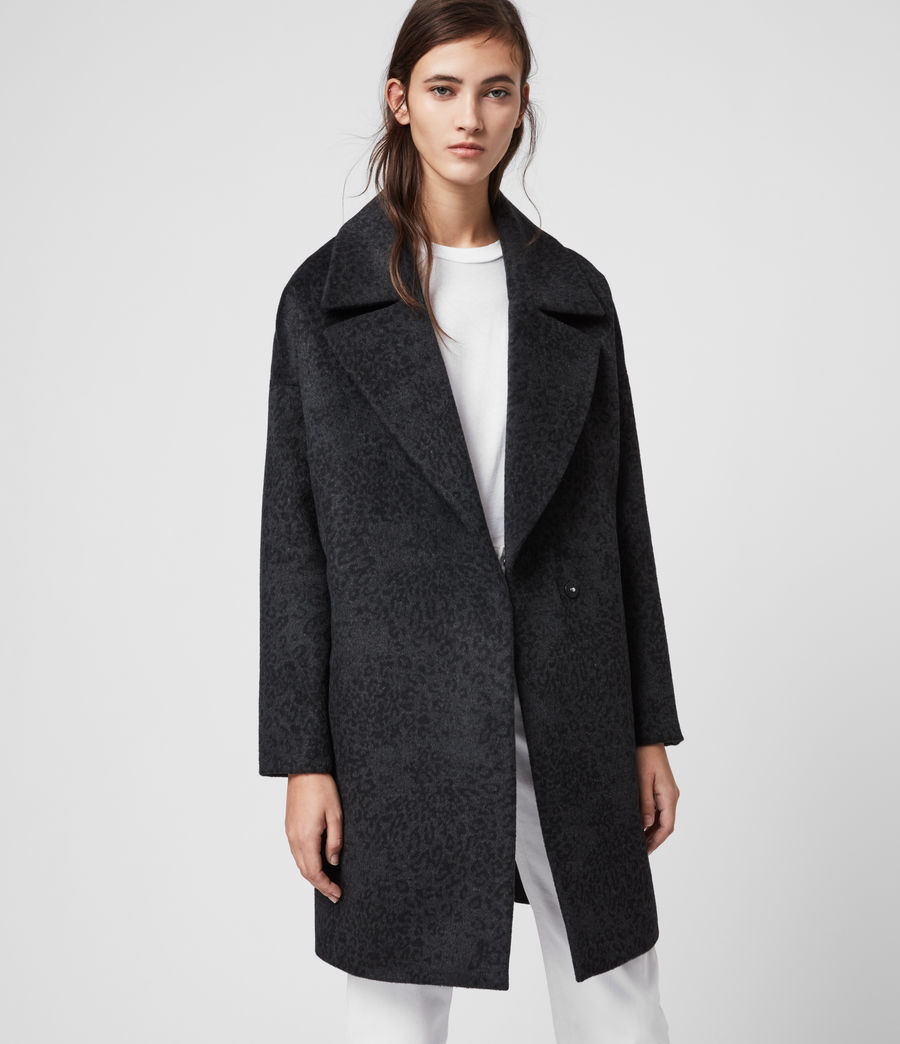 Women's Jetta Leopard Coat (charcoal_grey) - Image 3