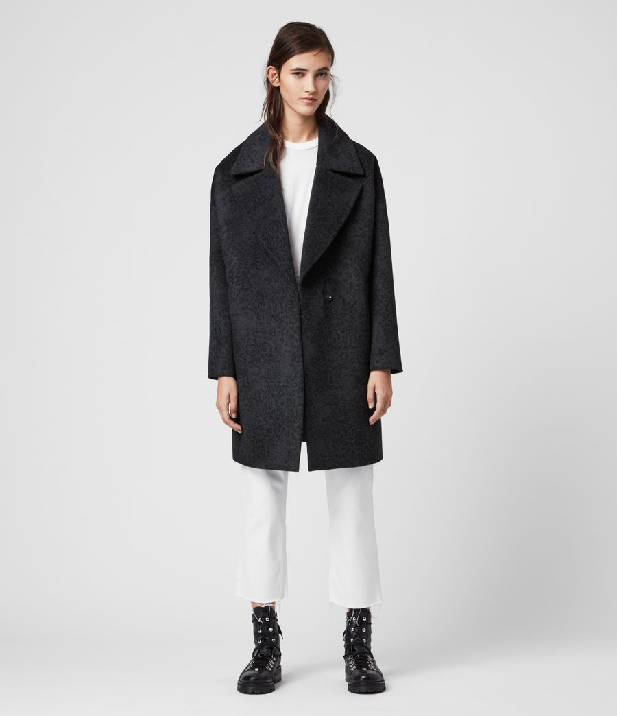 Women's Jetta Leopard Coat (charcoal_grey) - Image 4
