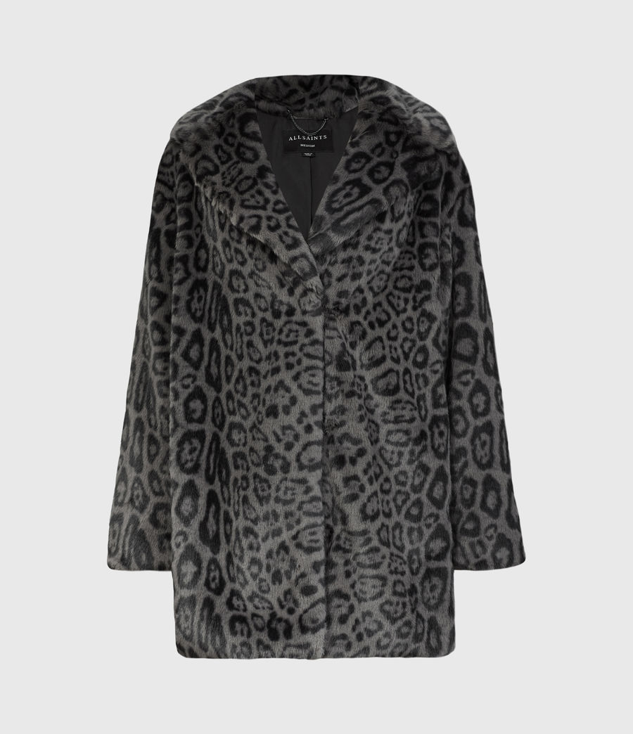 Womens Amice Faux Fur Leopard Jacket (grey_black) - Image 2