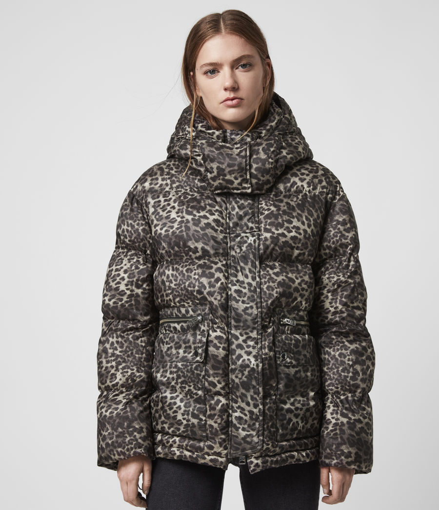 Womens Kala Leopard Puffer Coat (brown) - Image 2