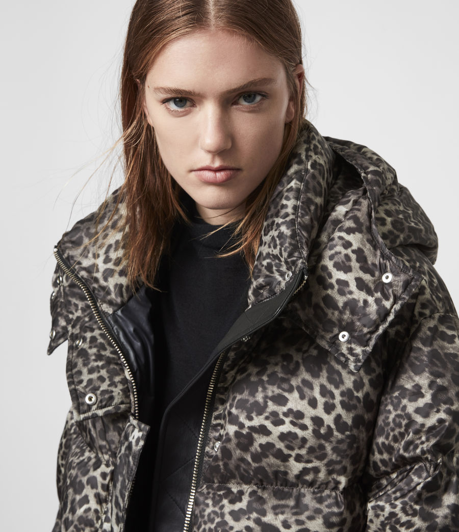Womens Kala Leopard Puffer Coat (brown) - Image 3