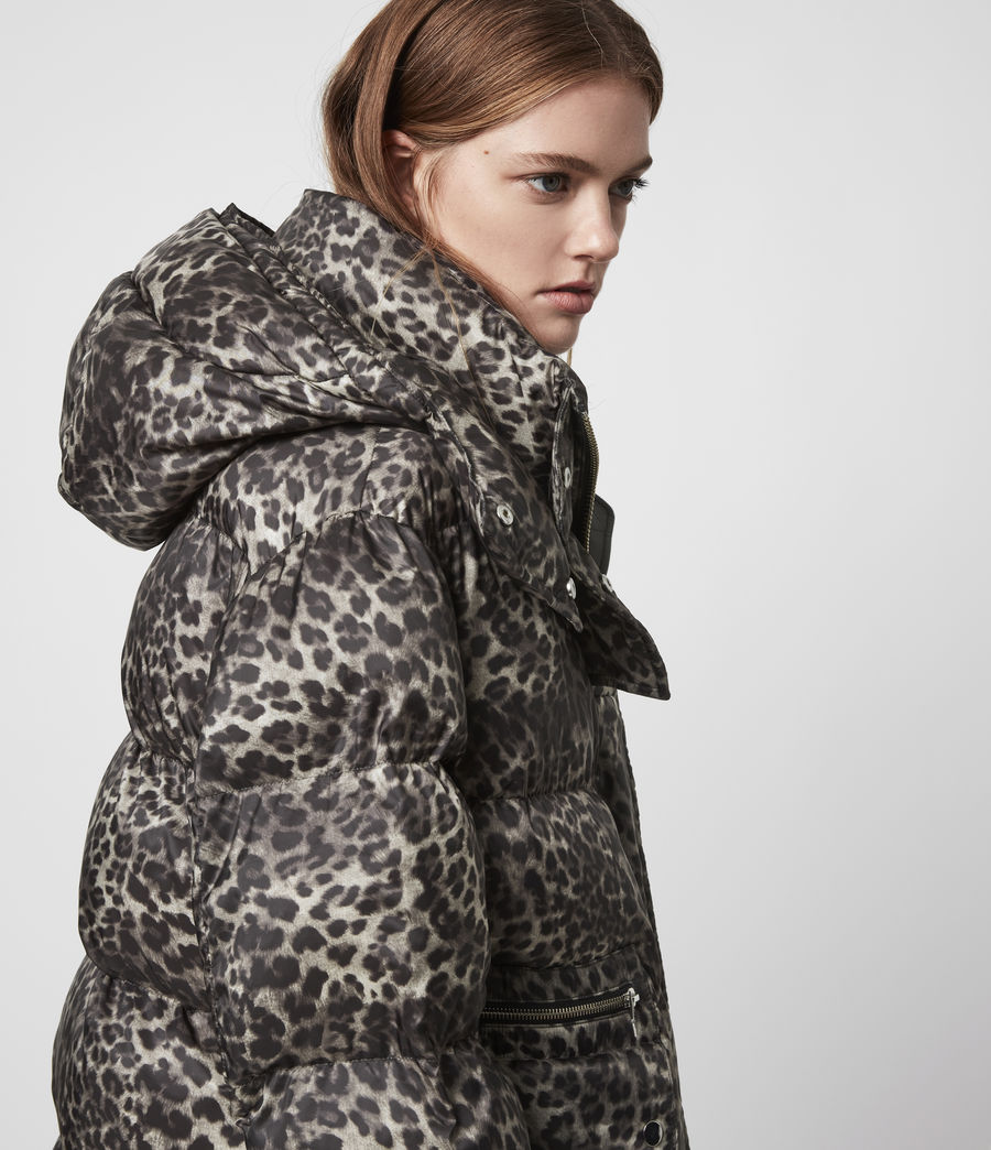 Womens Kala Leopard Puffer Coat (brown) - Image 4