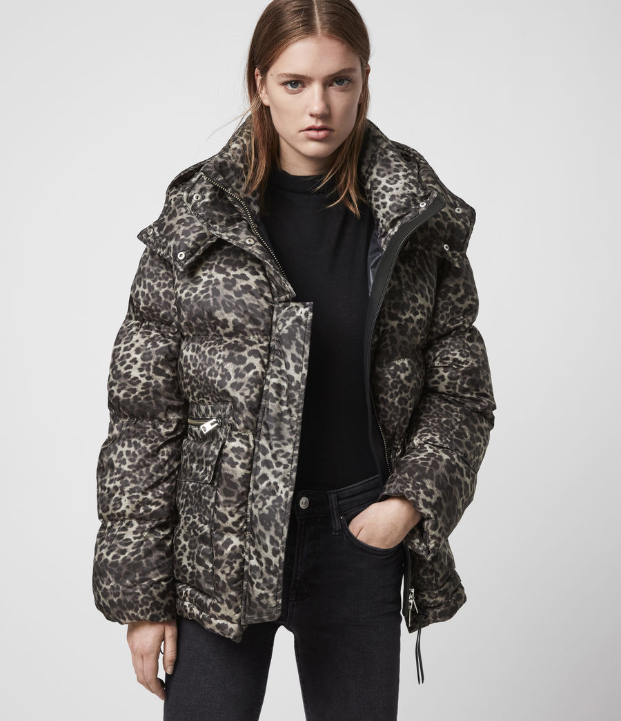 Womens Kala Leopard Puffer Coat (brown) - Image 5