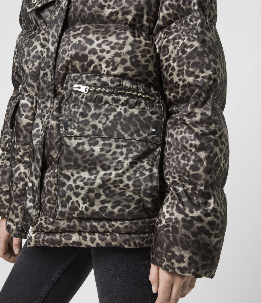 Womens Kala Leopard Puffer Coat (brown) - Image 6