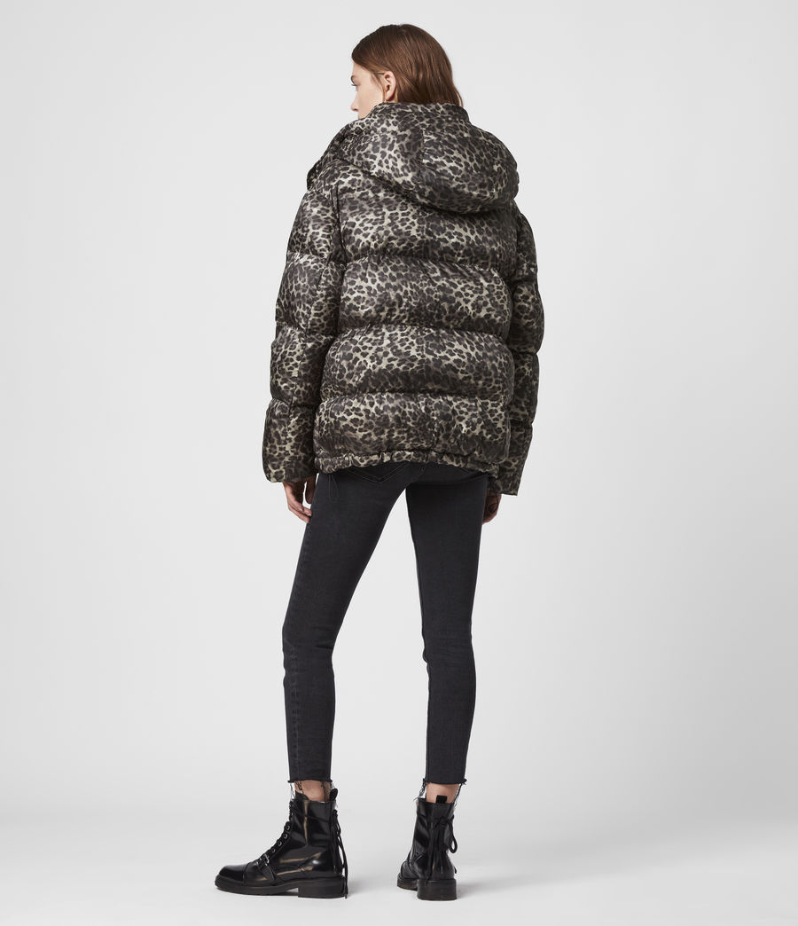 Womens Kala Leopard Puffer Coat (brown) - Image 7