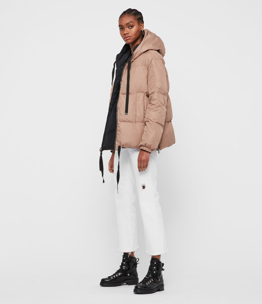 Women's Allie Reversible Puffer Coat (black_peach) - Image 1