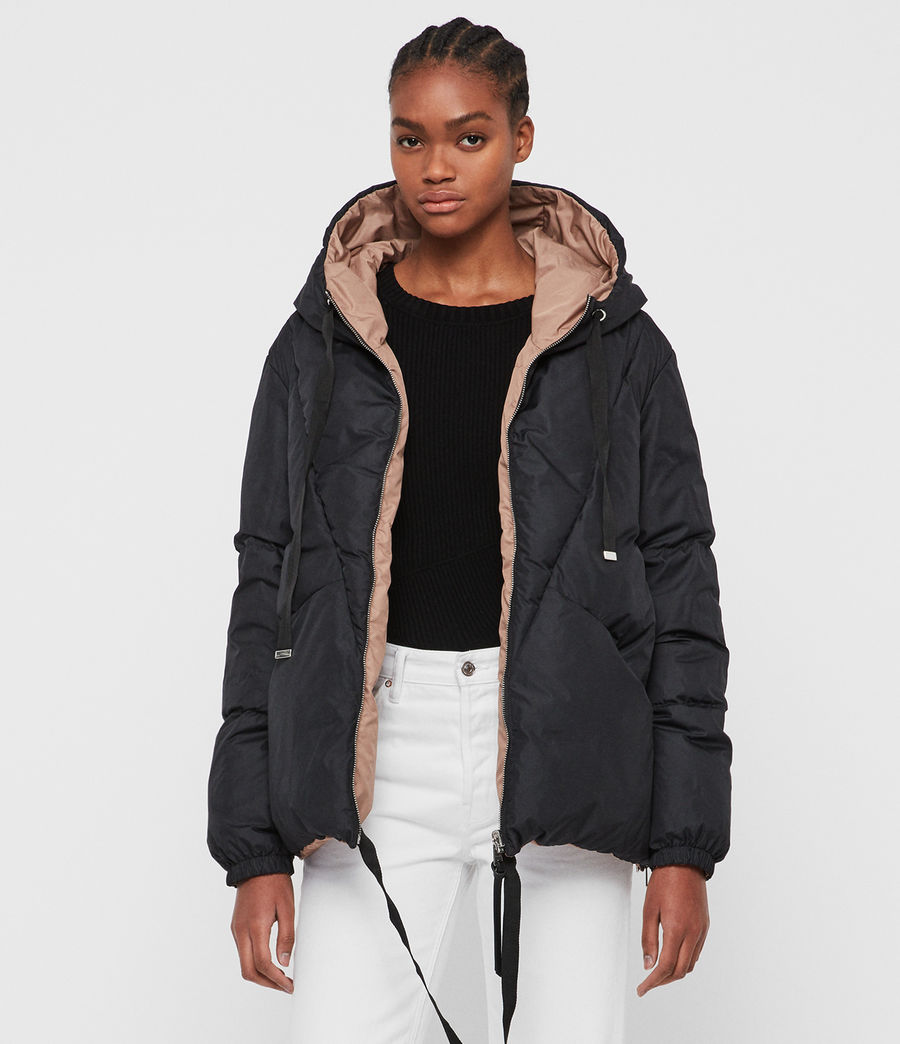 Women's Allie Reversible Puffer Coat (black_peach) - Image 2