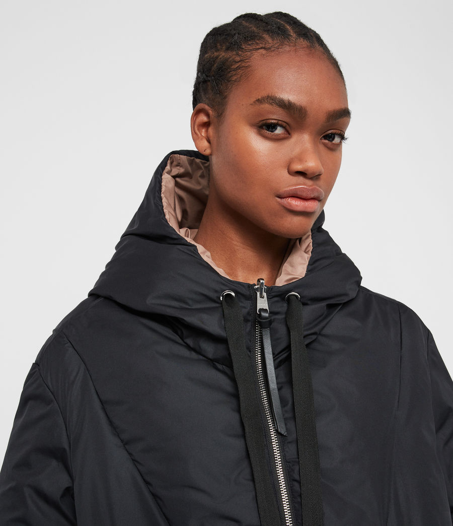 Women's Allie Reversible Puffer Coat (black_peach) - Image 3