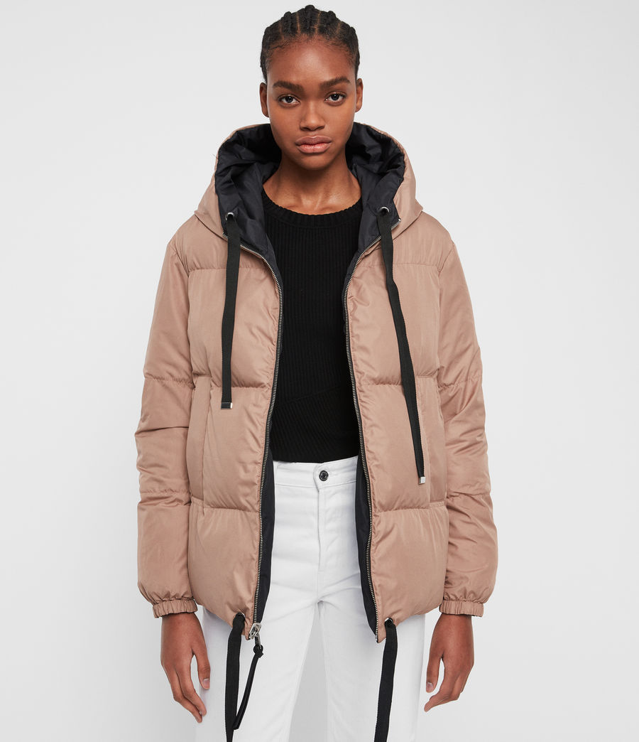 Women's Allie Reversible Puffer Coat (black_peach) - Image 4