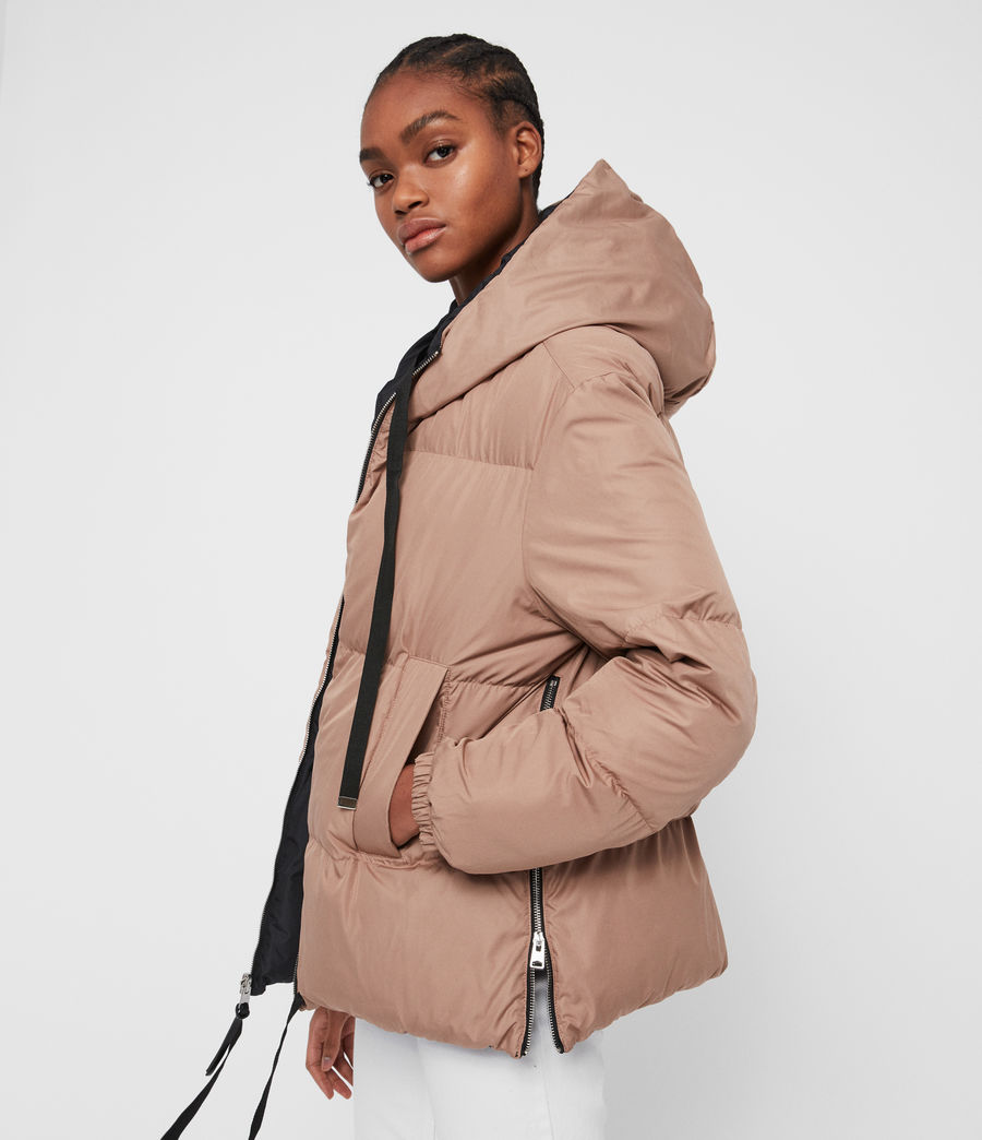 Women's Allie Reversible Puffer Coat (black_peach) - Image 5