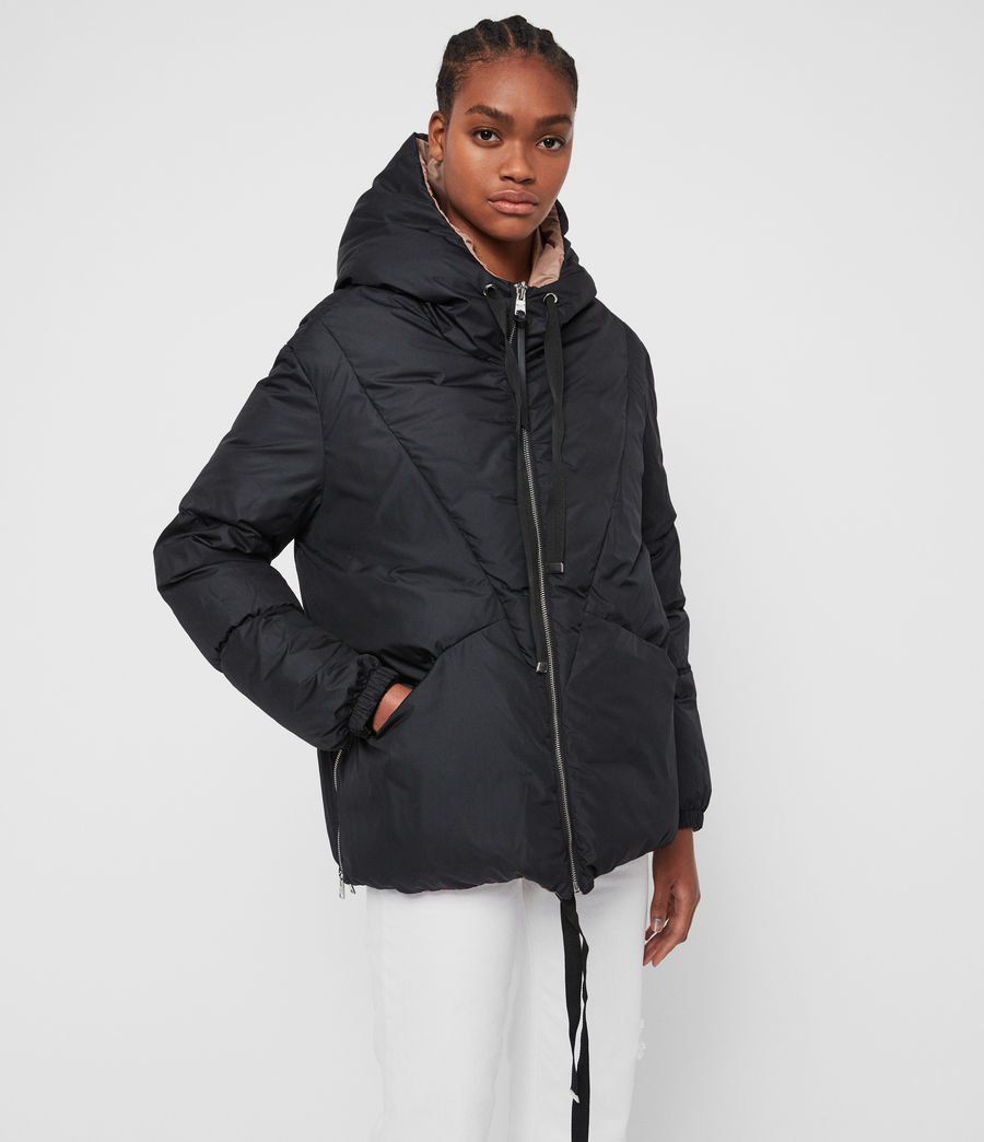 Women's Allie Reversible Puffer Coat (black_peach) - Image 6