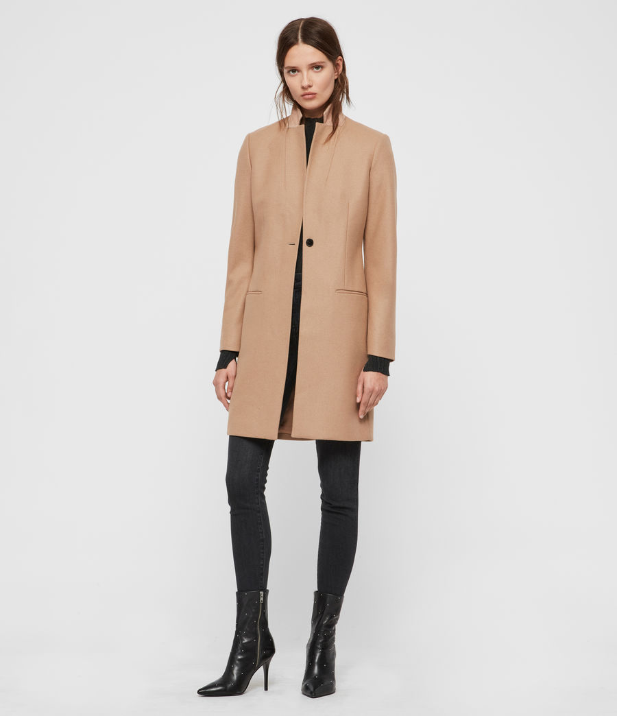Womens Leni Cashmere Blend Coat (camel_brown) - Image 1