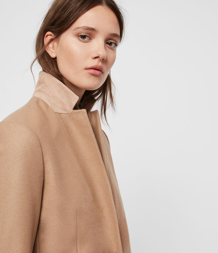 Womens Leni Cashmere Blend Coat (camel_brown) - Image 2