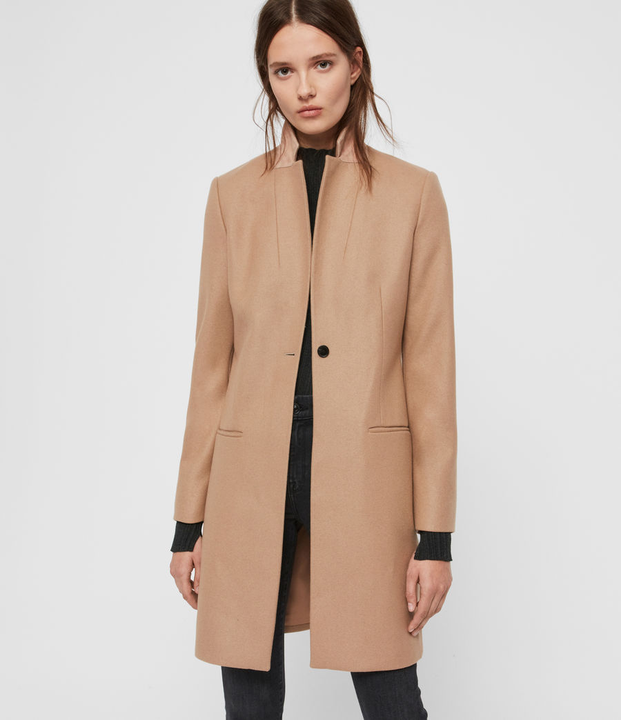 Womens Leni Cashmere Blend Coat (camel_brown) - Image 3