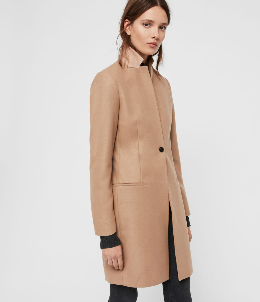 Womens Leni Cashmere Blend Coat (camel_brown) - Image 4