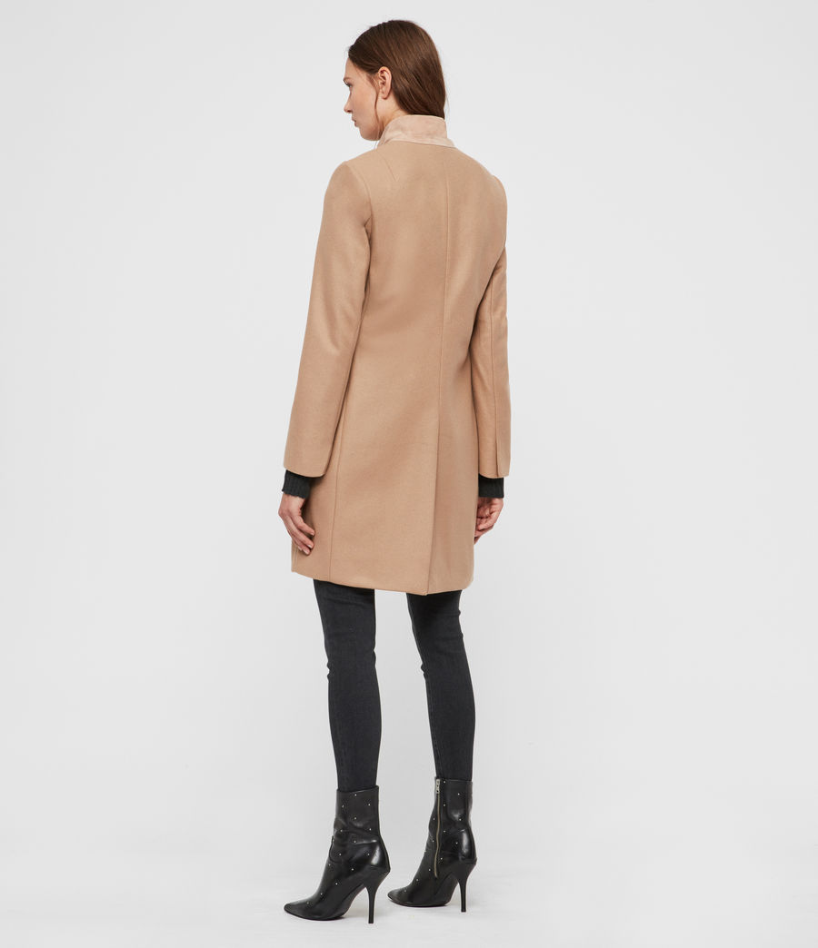Womens Leni Cashmere Blend Coat (camel_brown) - Image 5