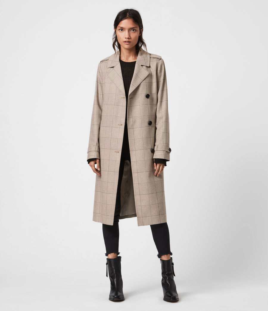Womens Chiara Check Trench Coat (neutral_beige) - Image 1