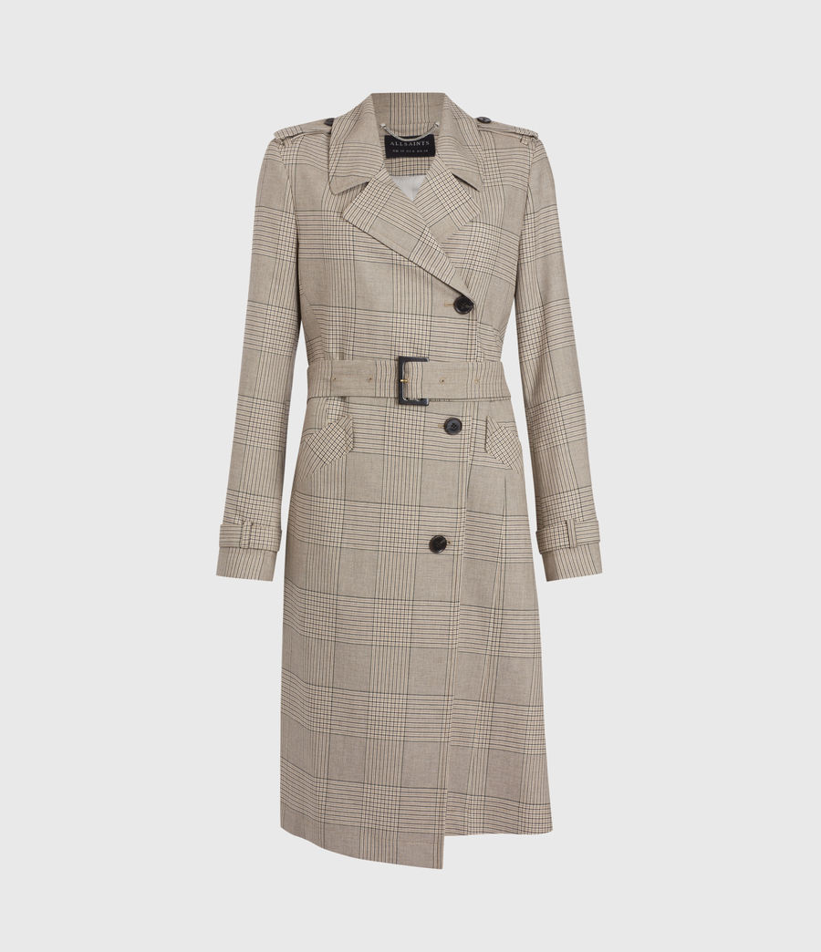 Womens Chiara Check Trench Coat (neutral_beige) - Image 2