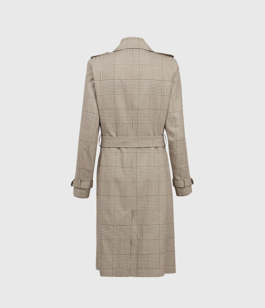 Womens Chiara Check Trench Coat (neutral_beige) - Image 3