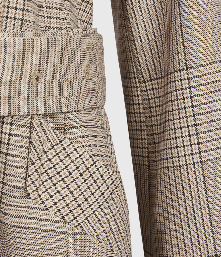 Womens Chiara Check Trench Coat (neutral_beige) - Image 4