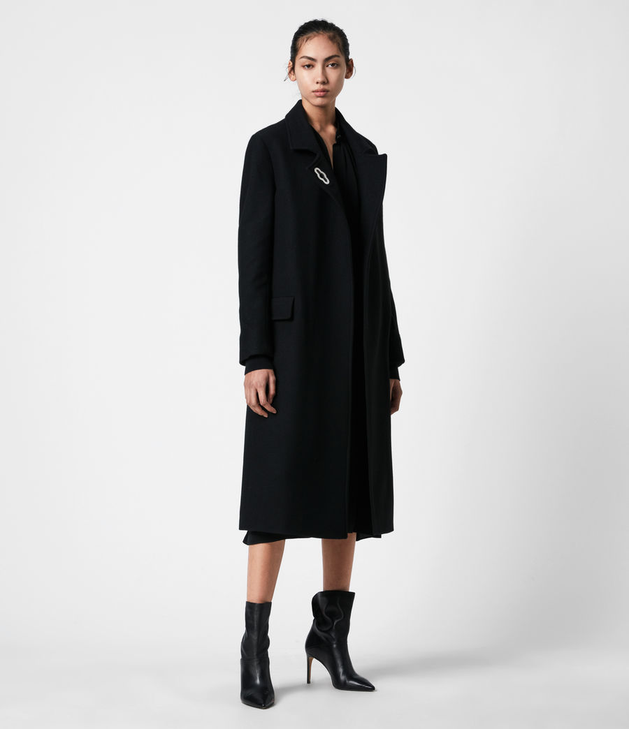 Womens Elin Wool Blend Coat (black) - Image 4