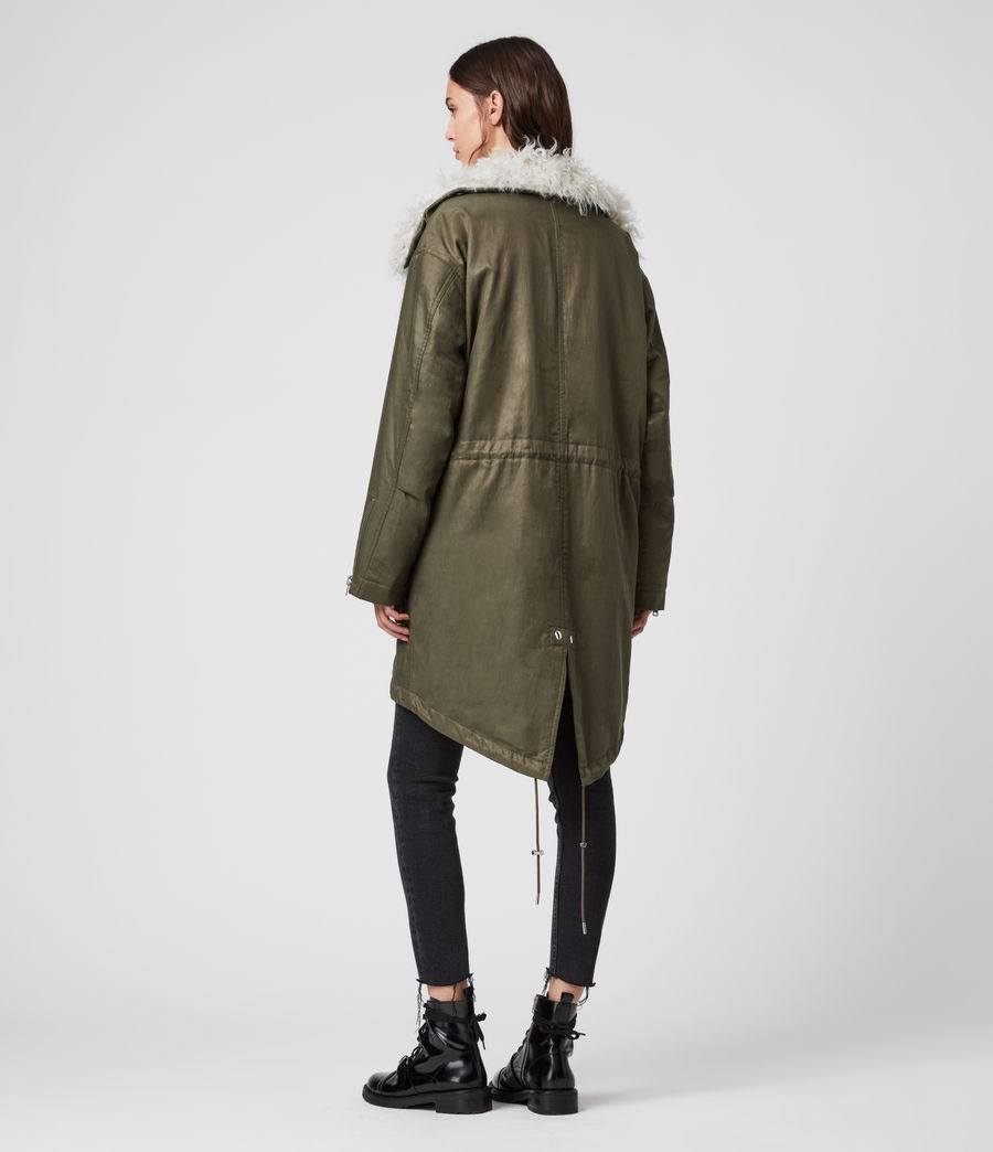 Womens Skyla 3-in-1 Shearling Collar Parka (khaki_green) - Image 8