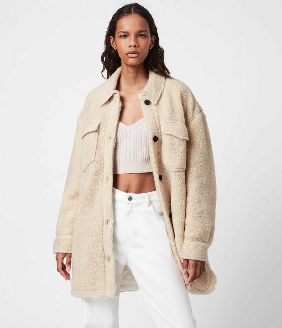 Womens Sophie Sherpa Jacket (stone_white) - Image 1
