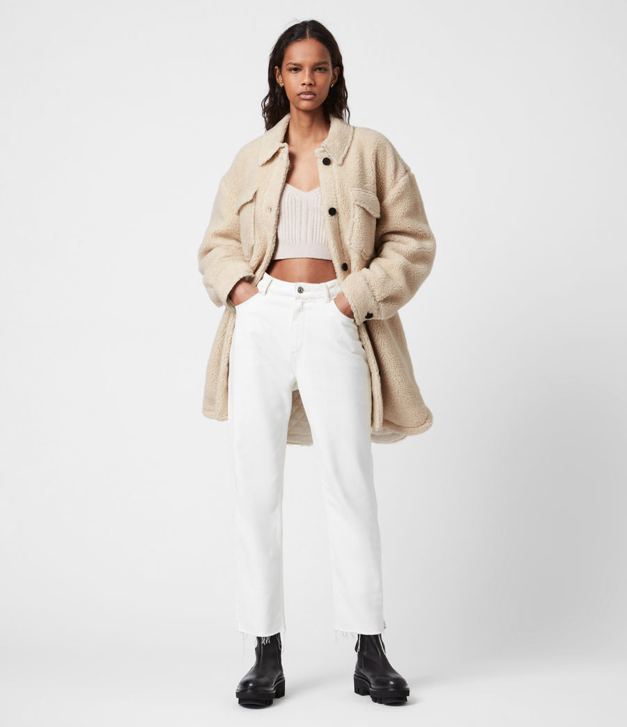 Womens Sophie Sherpa Jacket (stone_white) - Image 7