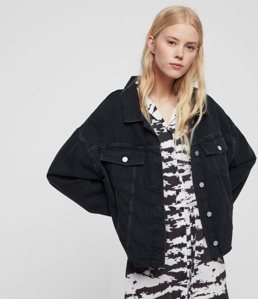 Womens Piper Oversized Denim Jacket (washed_black) - Image 2
