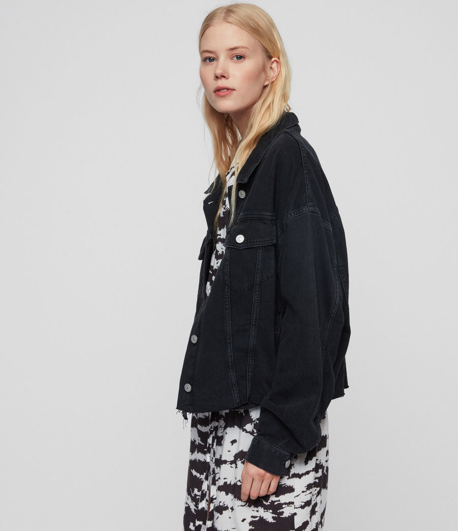 Women's Piper Oversized Denim Jacket (washed_black) - Image 2