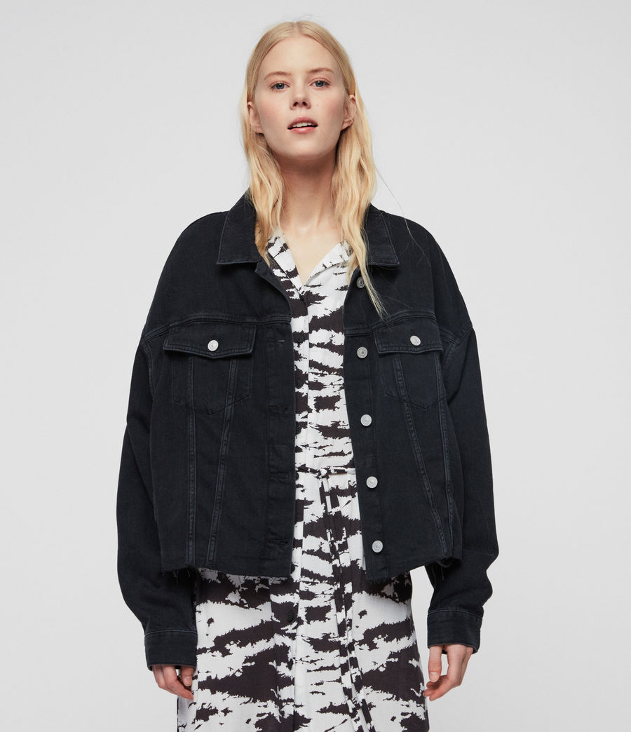 Womens Piper Oversized Denim Jacket (washed_black) - Image 5