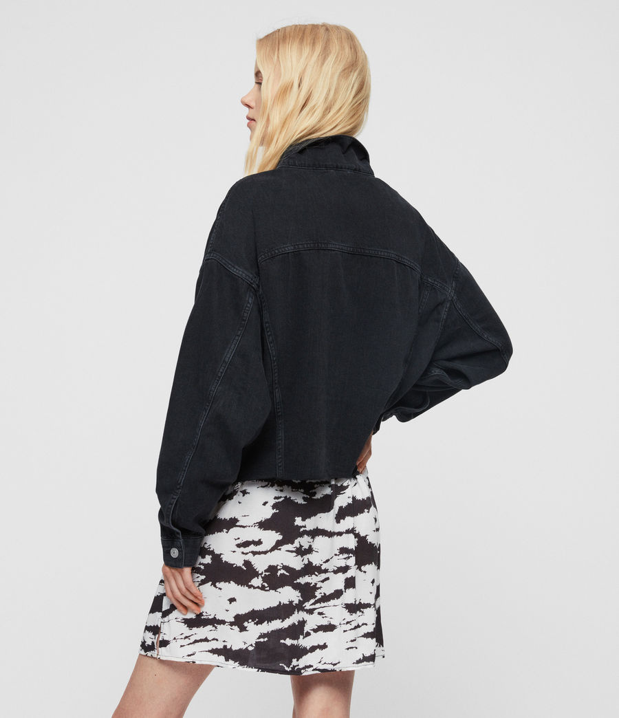 Women's Piper Oversized Denim Jacket (washed_black) - Image 3
