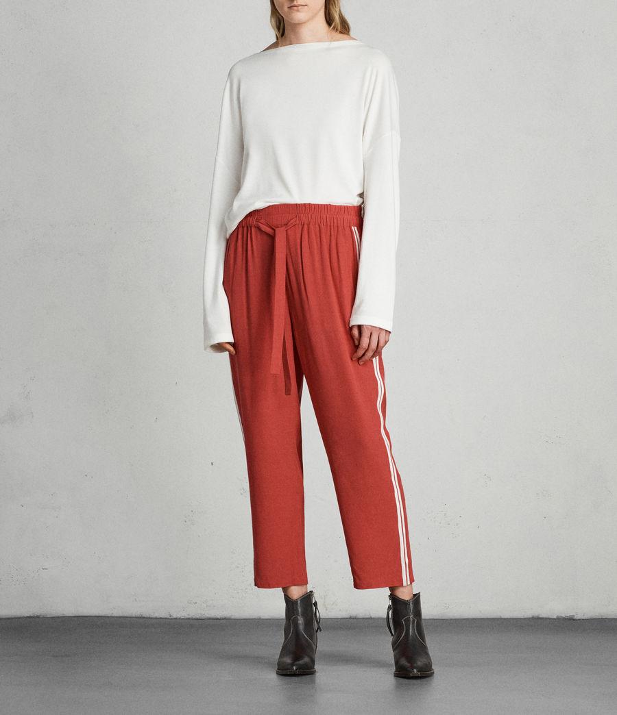 Womens Talia Stripe Trouser (coral_red_white) - Image 3