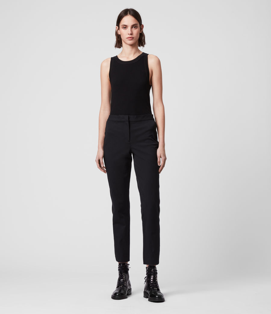 Womens Arie Lea Mid-Rise Cropped Slim Pants (black) - Image 1