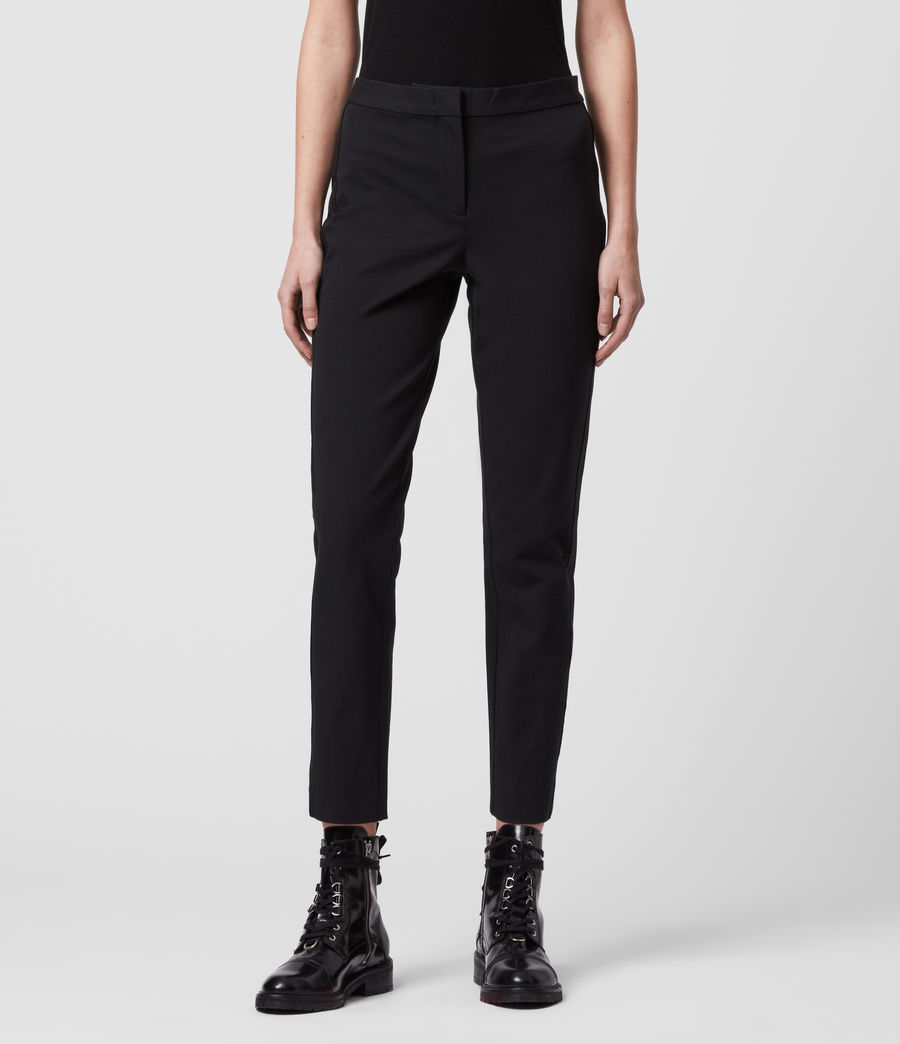 Womens Arie Lea Mid-Rise Cropped Slim Pants (black) - Image 3