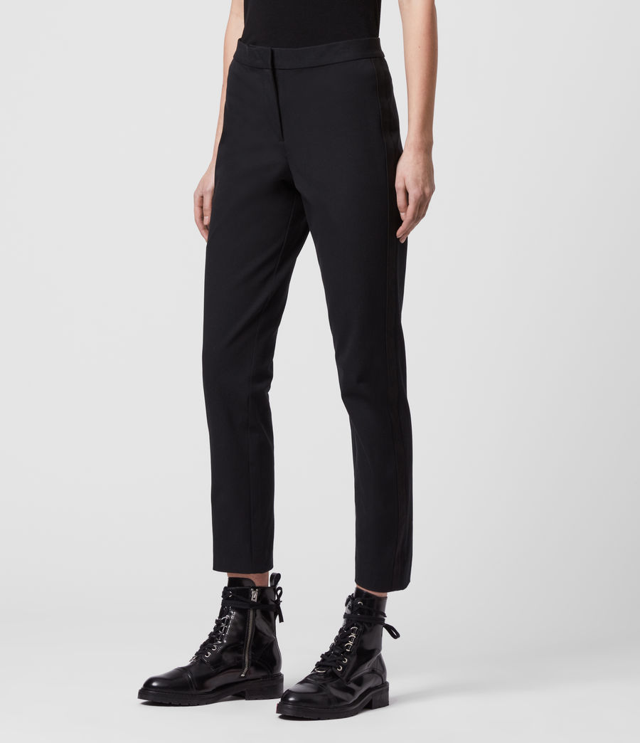 Womens Arie Lea Mid-Rise Cropped Slim Pants (black) - Image 4