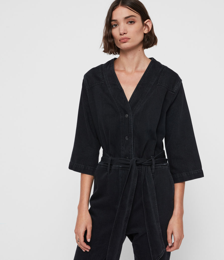 Womens Utility Denim Jumpsuit (washed_black) - Image 1