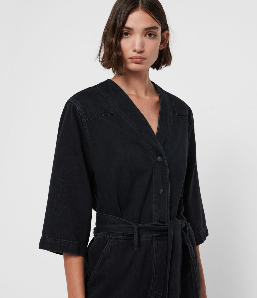Womens Utility Denim Jumpsuit (washed_black) - Image 2
