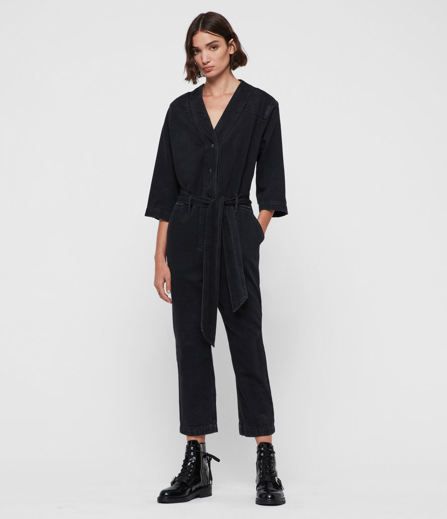 Womens Utility Denim Jumpsuit (washed_black) - Image 3