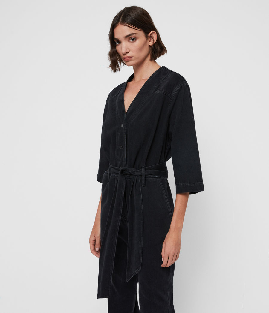 Womens Utility Denim Jumpsuit (washed_black) - Image 4