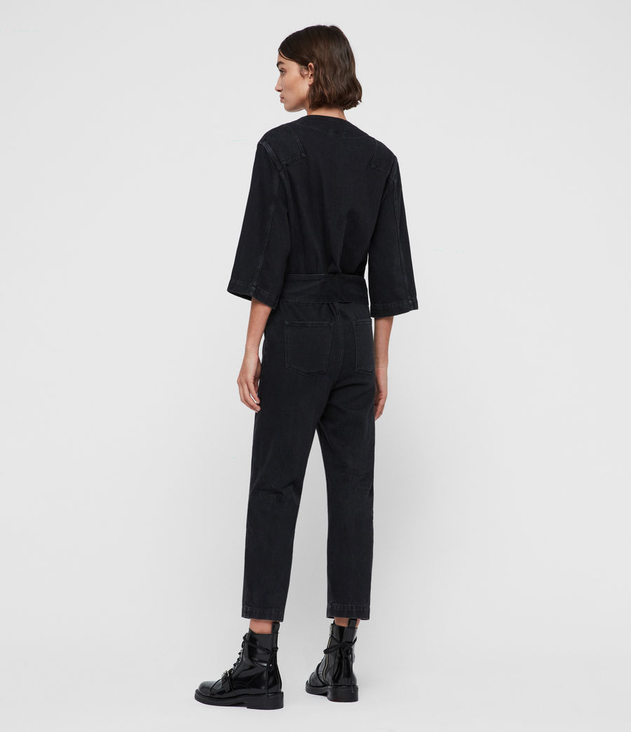 Womens Utility Denim Jumpsuit (washed_black) - Image 5