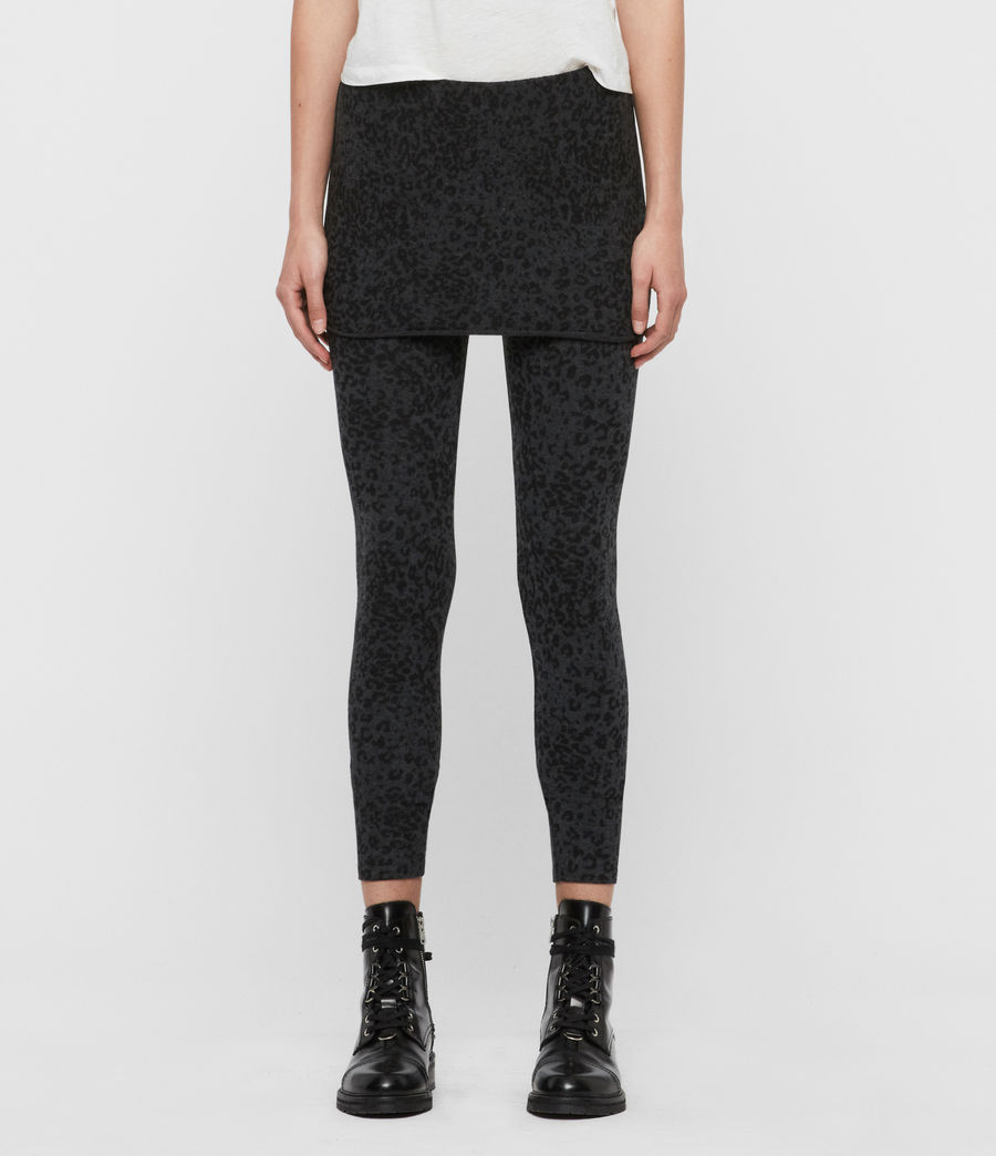 Womens Leopard Raffi Leggings (charcoal_grey) - Image 1