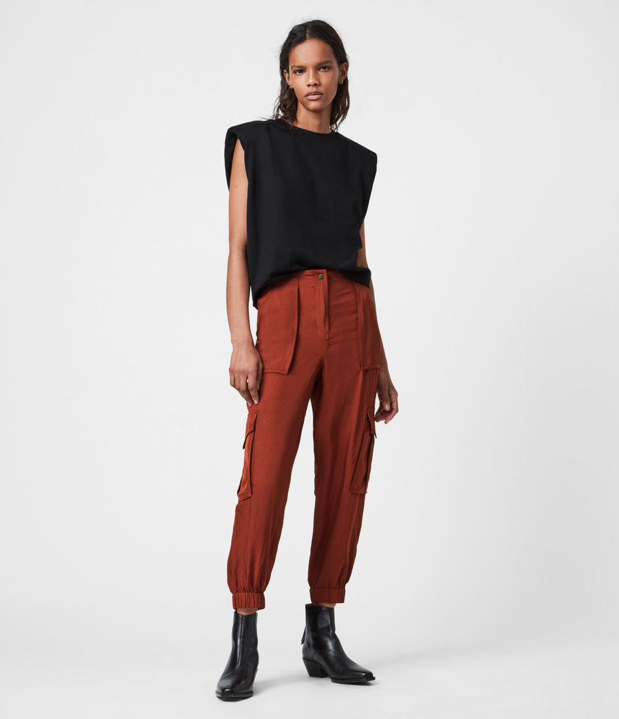 Women's Frieda Mid-Rise Cuffed Trousers (rust_red) - Image 1