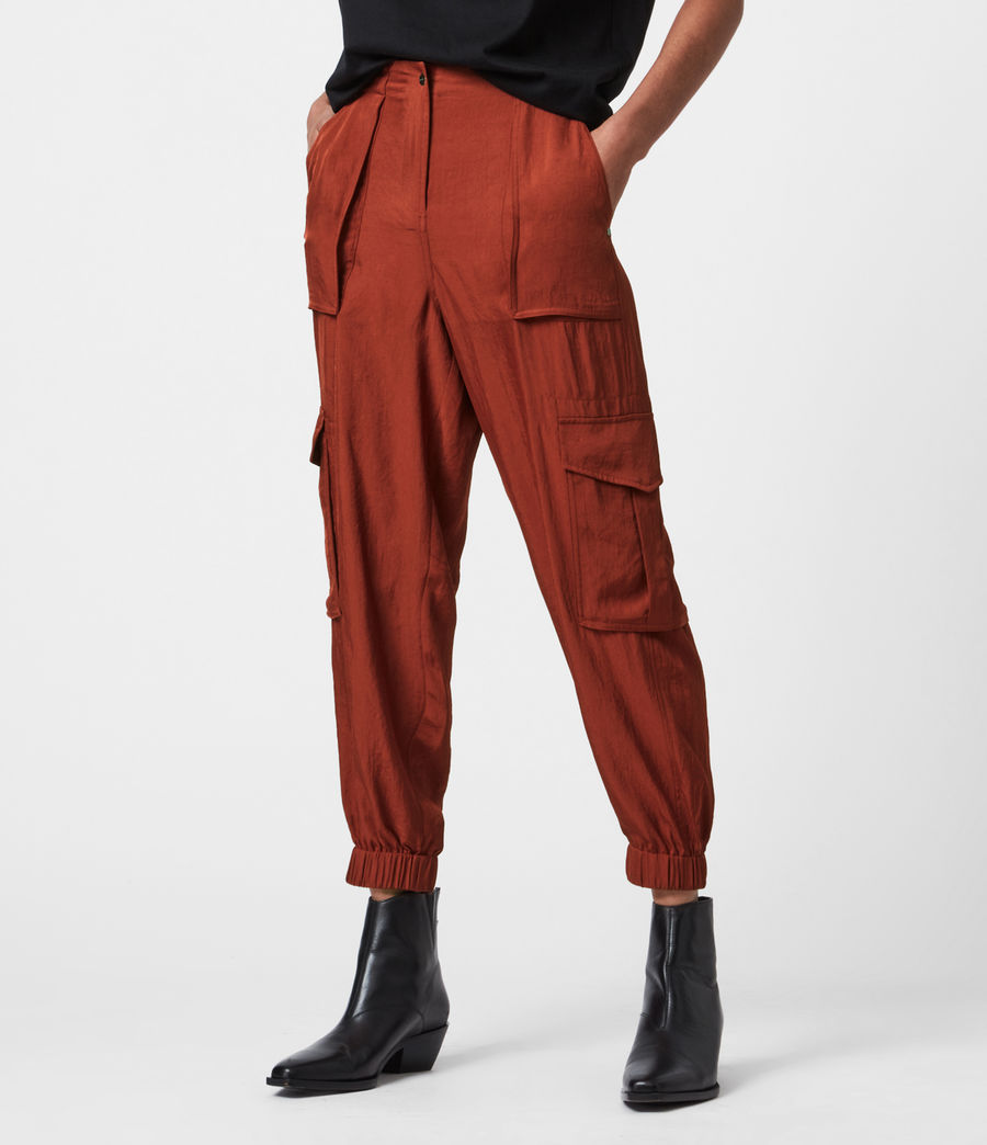 Women's Frieda Mid-Rise Cuffed Trousers (rust_red) - Image 4