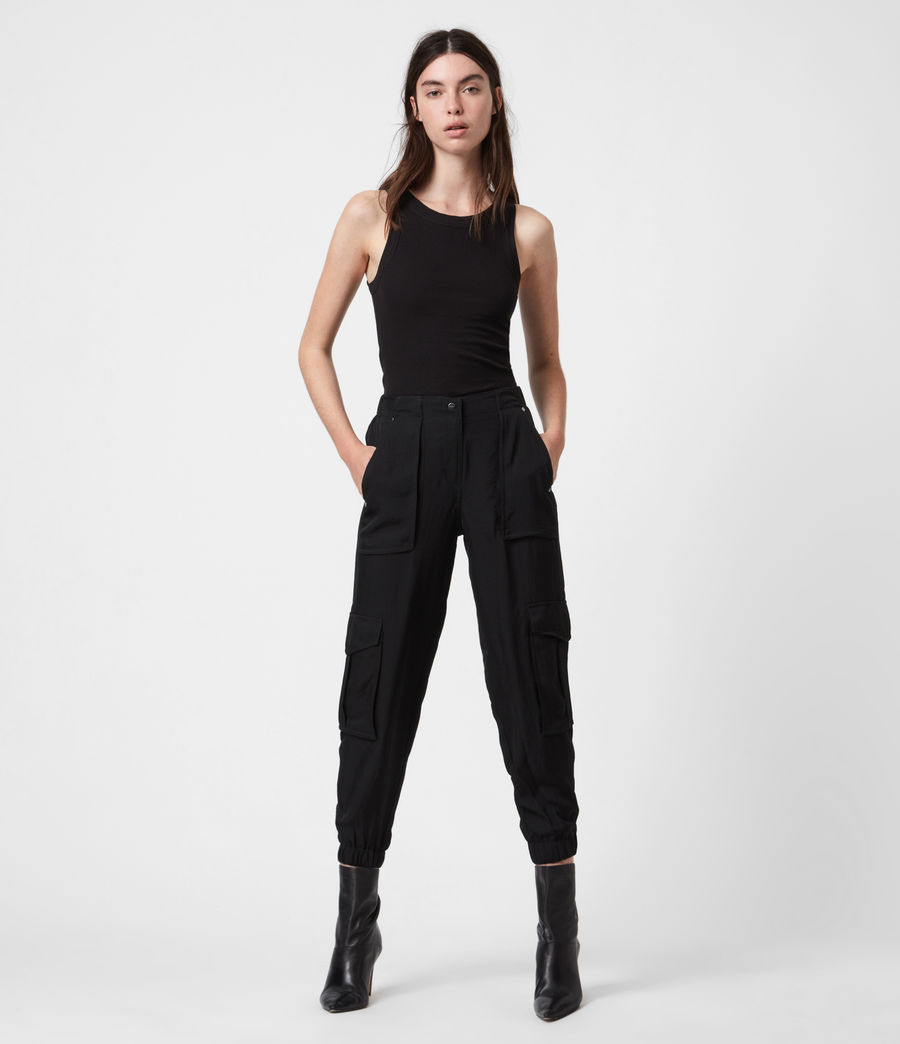 Damen Frieda Mid-Rise Trousers (black) - Image 1