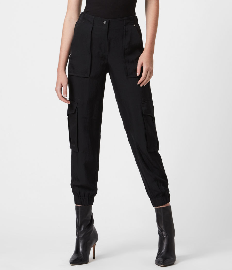 Women's Frieda Mid-Rise Trousers (black) - Image 4
