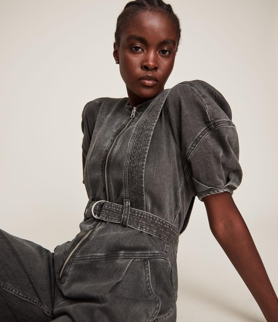 Women's Elektra Denim Jumpsuit (washed_black) - Image 2